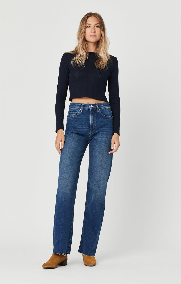 VICTORIA WIDE LEG JEANS IN DARK USED 90'S Image 3