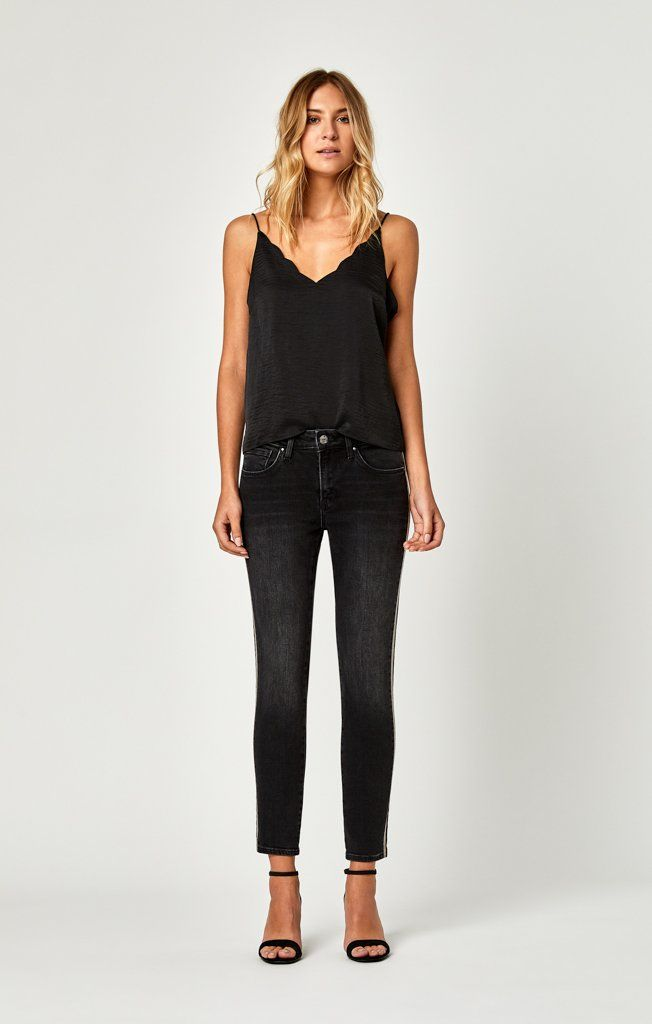 ALISSA ANKLE SUPER SKINNY IN SHINY BINDED SMOKE - Mavi Jeans