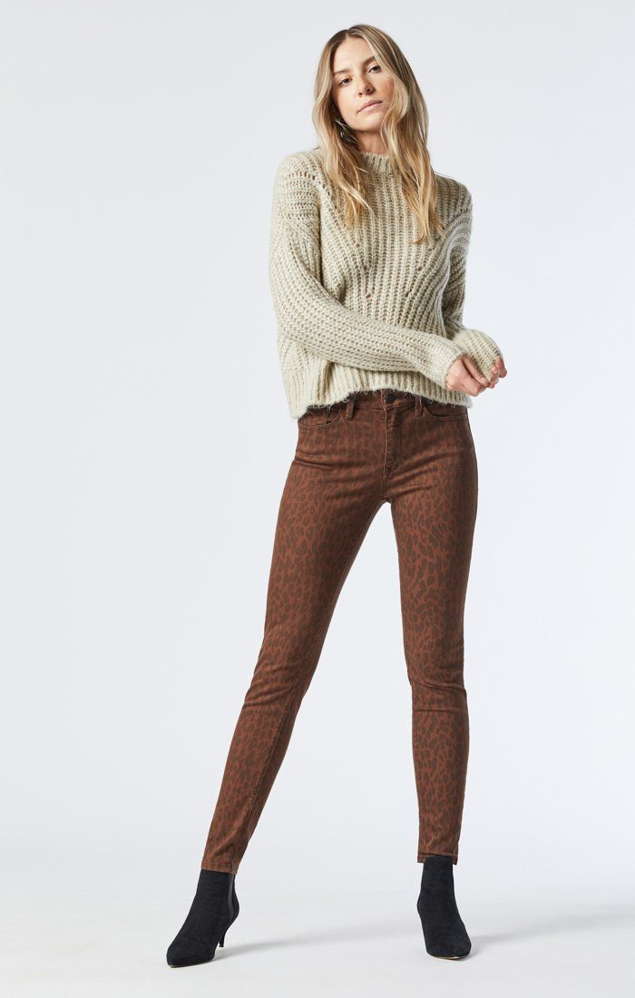 ALISSA SUPER SKINNY JEANS IN BROWN LEO STRETCH Image 1