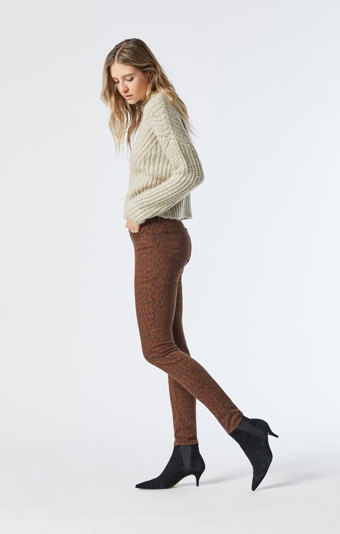 ALISSA SUPER SKINNY JEANS IN BROWN LEO STRETCH Image 3