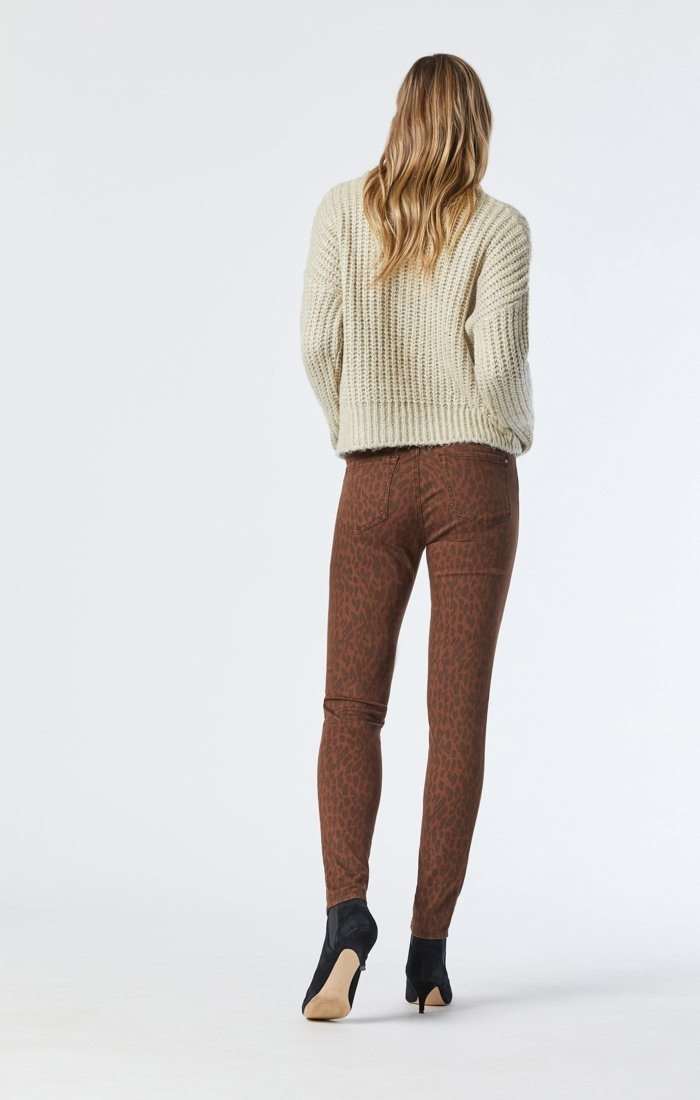 ALISSA SUPER SKINNY JEANS IN BROWN LEO STRETCH Image 2