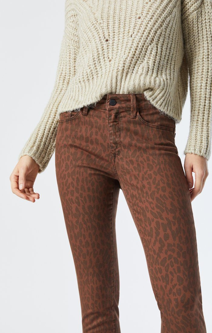 ALISSA SUPER SKINNY JEANS IN BROWN LEO STRETCH Image 5