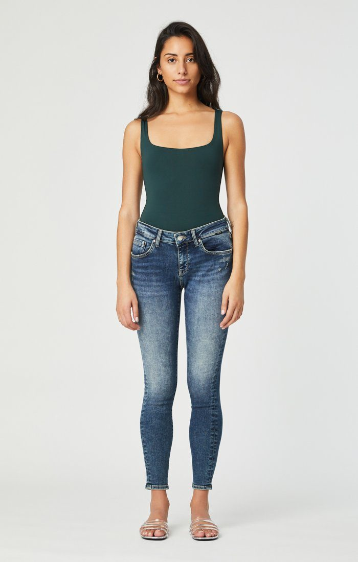 ADRIANA SUPER SKINNY IN MID DISTRESSED ORGANIC MOVE - Mavi Jeans