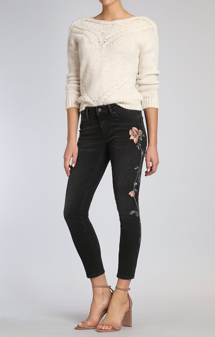 ADRIANA ANKLE SUPER SKINNY IN SMOKE ROSE EMBROIDERY