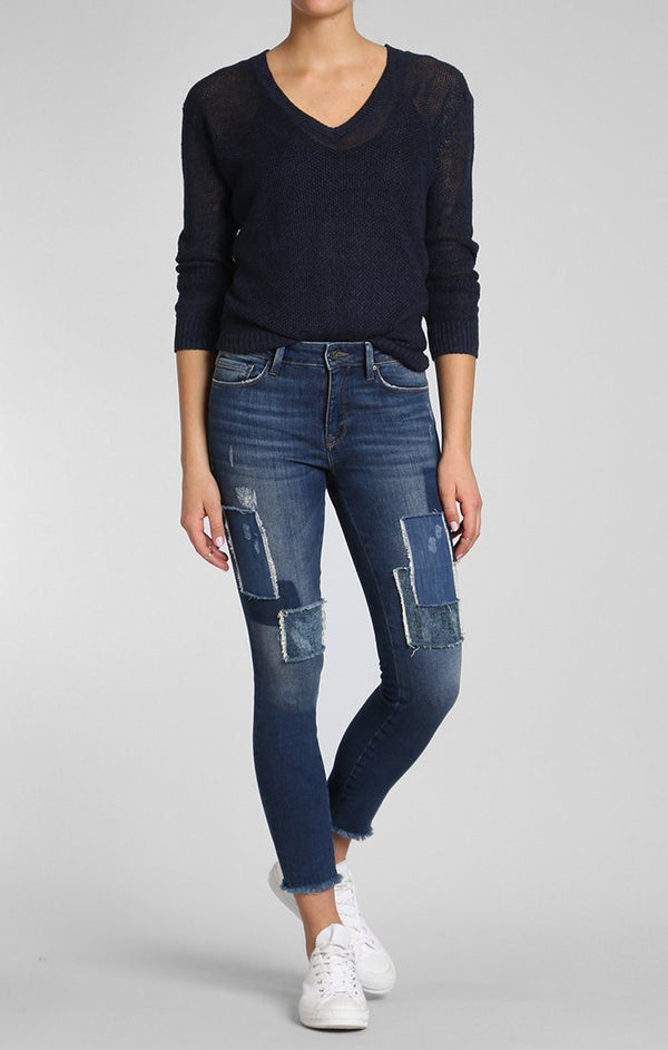 ADRIANA ANKLE SUPER SKINNY IN INDIGO PATCHED VINTAGE - Mavi Jeans