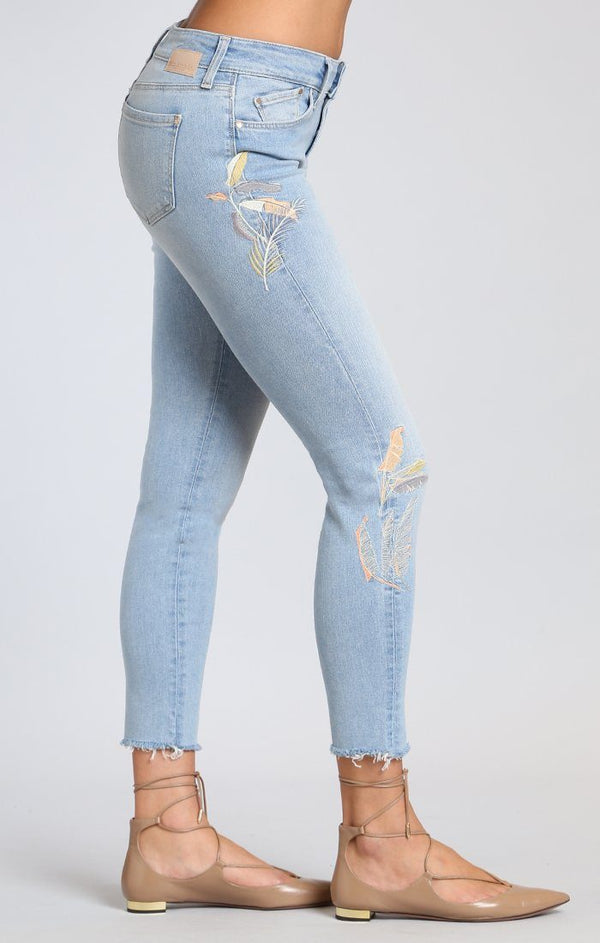 ADRIANA ANKLE SUPER SKINNY  IN LIGHT PALM EMBROIDERY - Mavi Jeans