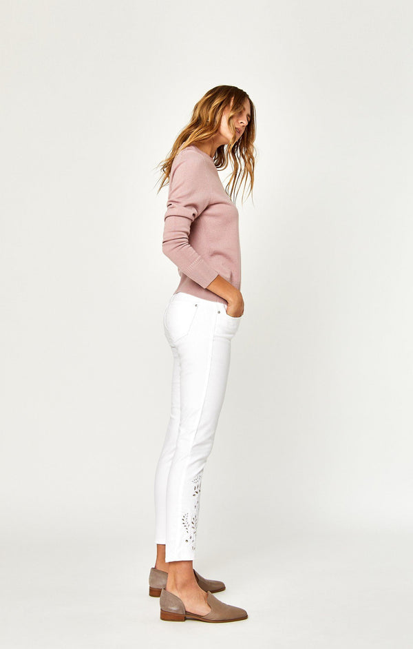 ADRIANA ANKLE SUPER SKINNY IN WHITE DECO - Mavi Jeans