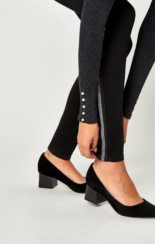 ADRIANA ANKLE SUPER SKINNY IN BLACK SHINY STRIPED - Mavi Jeans