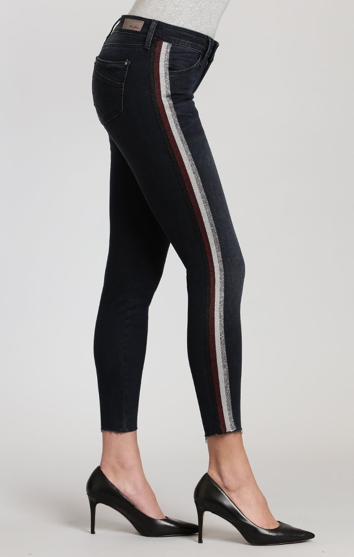 ADRIANA ANKLE SUPER SKINNY IN INK SHINY STRIPE DENIM - Mavi Jeans