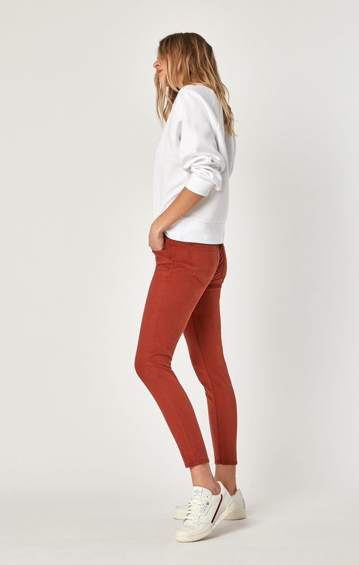 ALEXA ANKLE SKINNY IN BURNT HENNA SATEEN - Mavi Jeans