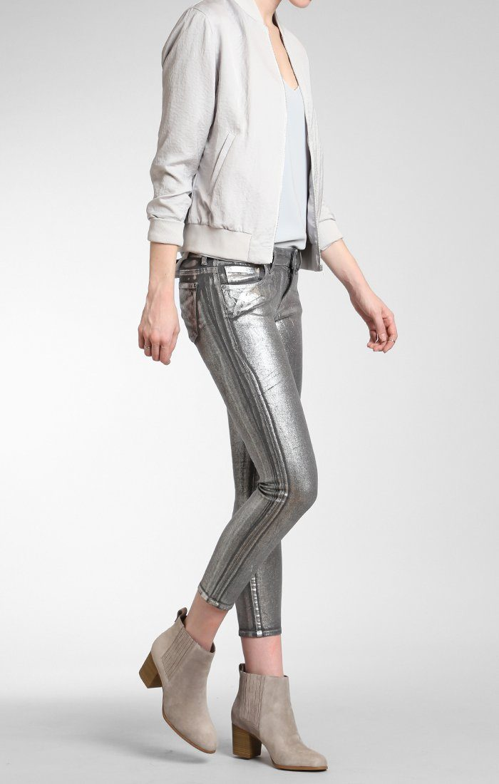 ADRIANA ANKLE SUPER SKINNY  IN SILVER GALACTIC