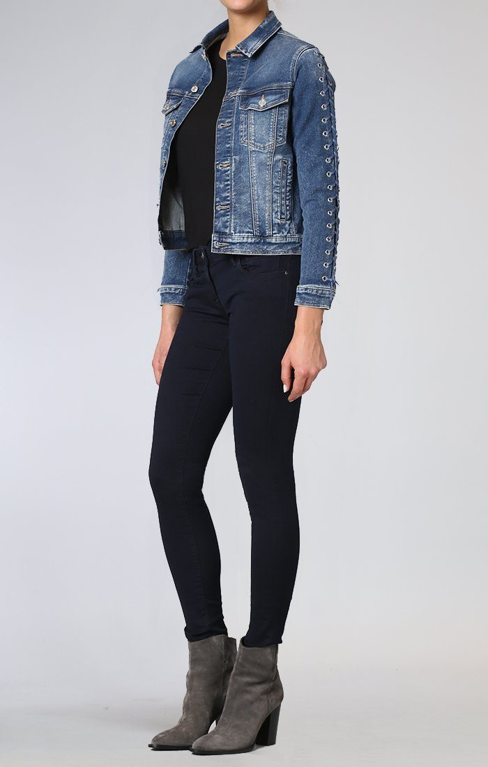 KATY JACKET IN DARK INDIGO EYELET