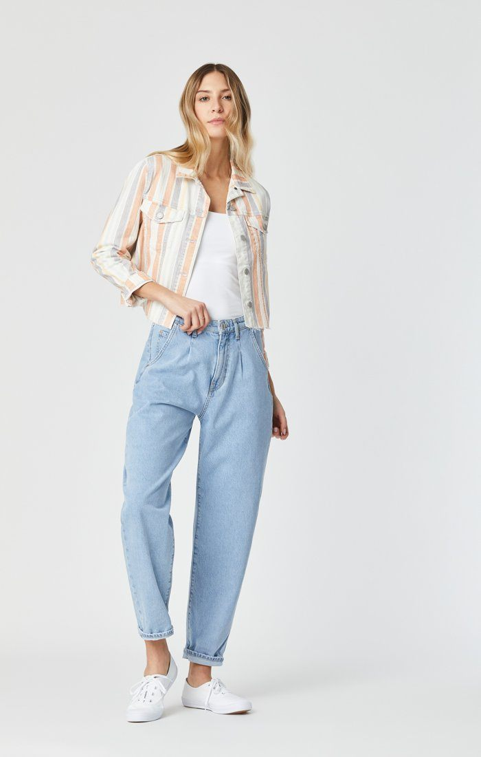 SIENNA CUT-OFF CROP JACKET IN SPRING STRIPE STRETCH Image 3