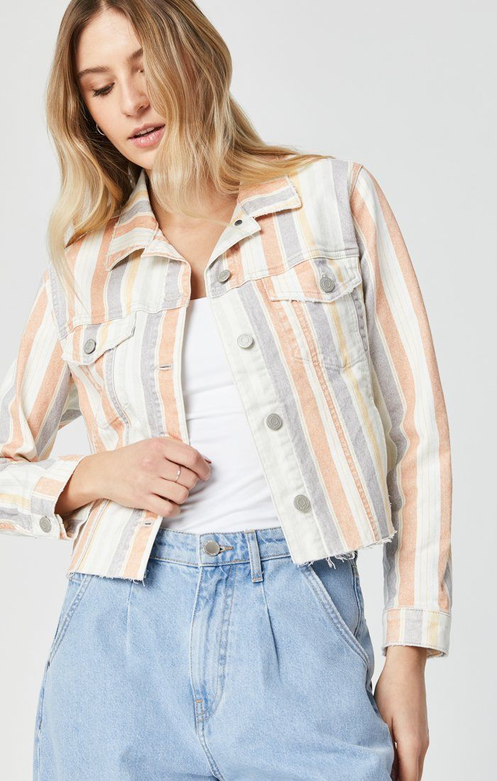 SIENNA CUT-OFF CROP JACKET IN SPRING STRIPE STRETCH Image 6