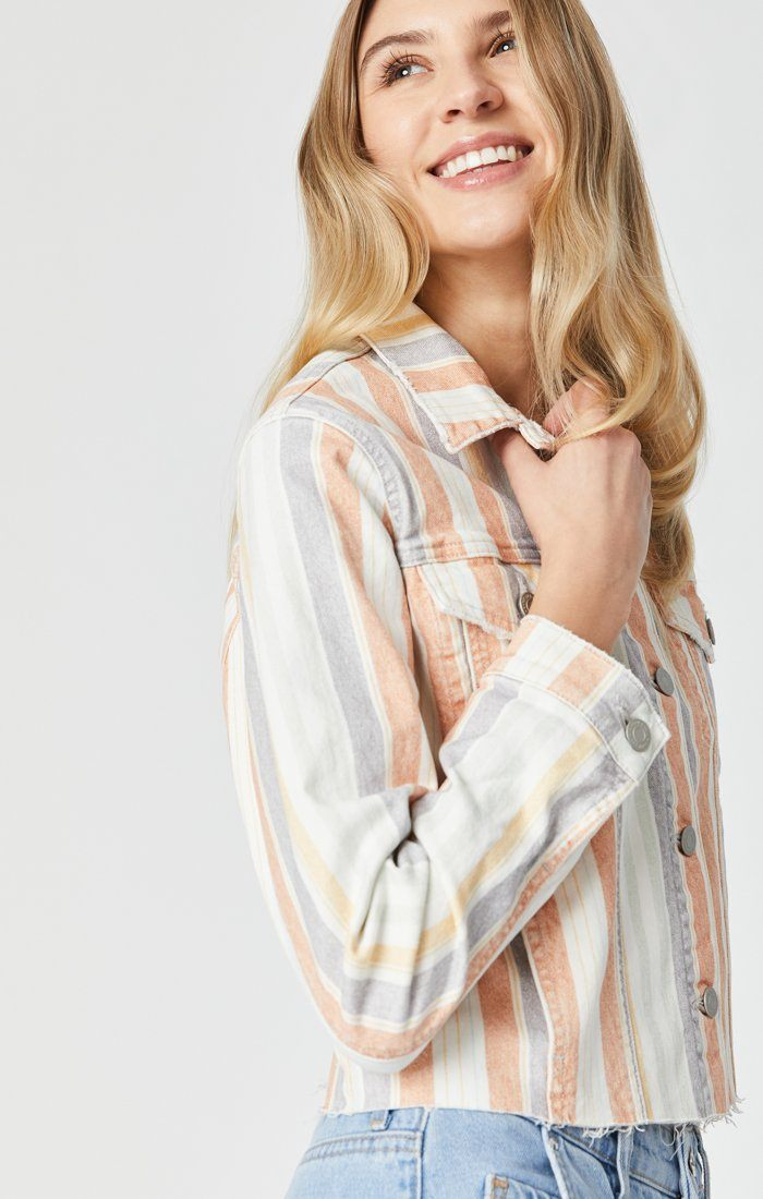 SIENNA CUT-OFF CROP JACKET IN SPRING STRIPE STRETCH Image 4