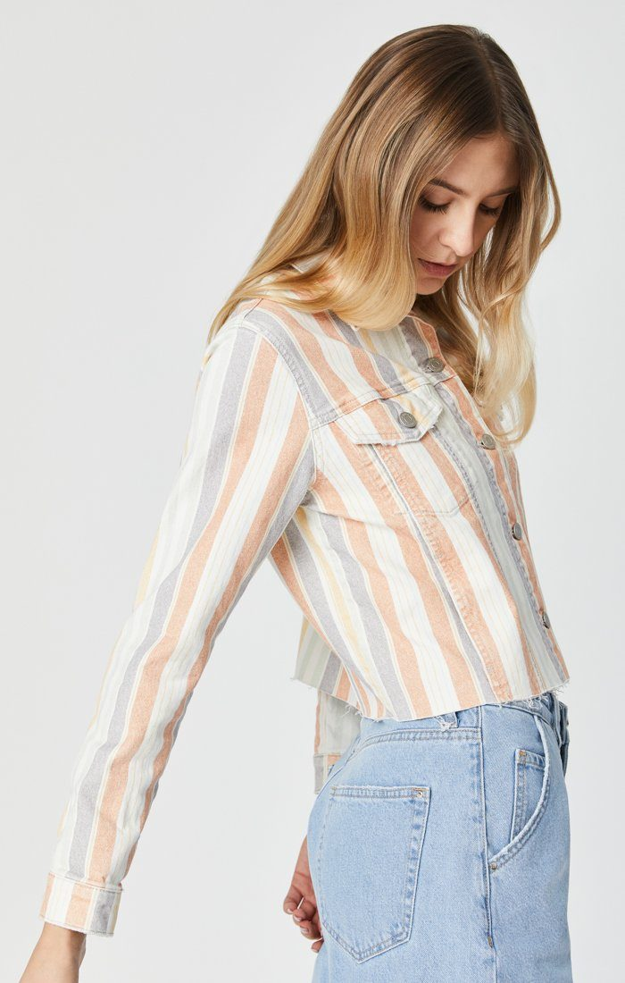 SIENNA CUT-OFF CROP JACKET IN SPRING STRIPE STRETCH Image 5