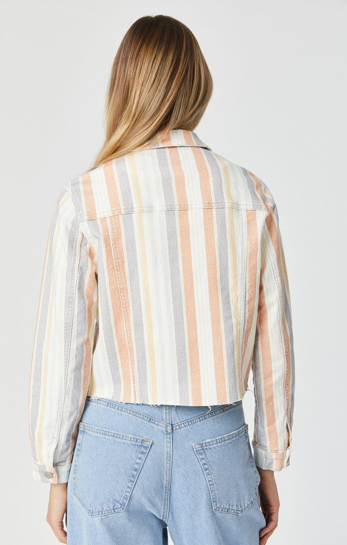 SIENNA CUT-OFF CROP JACKET IN SPRING STRIPE STRETCH Image 7