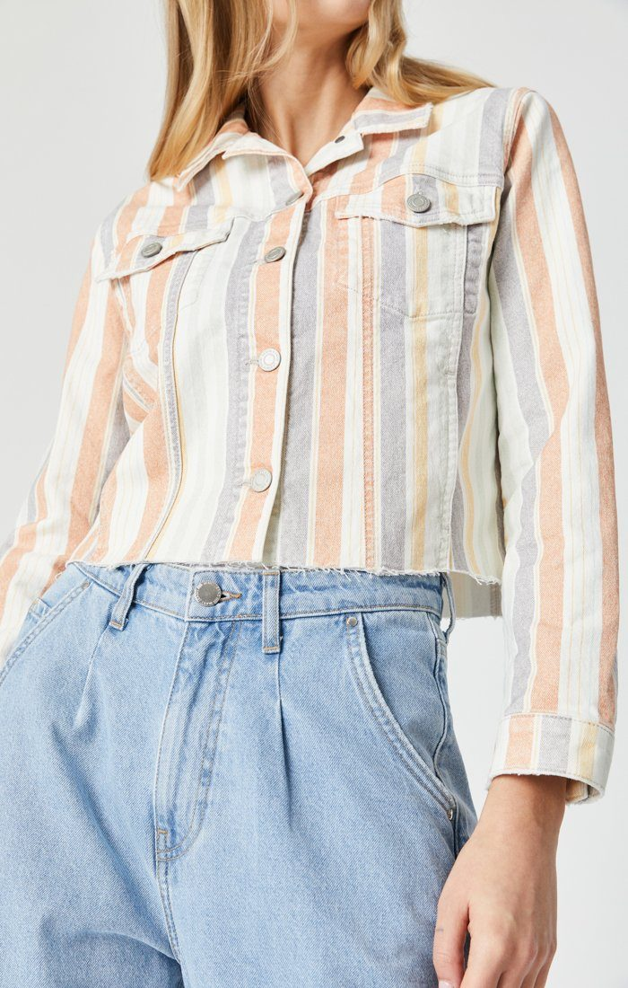 SIENNA CUT-OFF CROP JACKET IN SPRING STRIPE STRETCH - Mavi Jeans