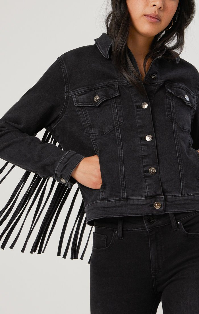 LUNA JACKET IN SMOKE FRINGE GOLD ICON - Mavi Jeans