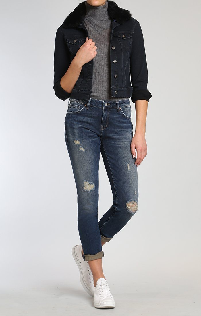 SAMANTHA DENIM JACKET IN INK FAKE FUR - Mavi Jeans