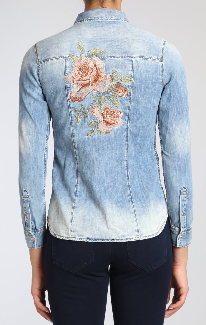 ISABEL SHIRT IN BROWN ROSE EMBROIDERY - Mavi Jeans