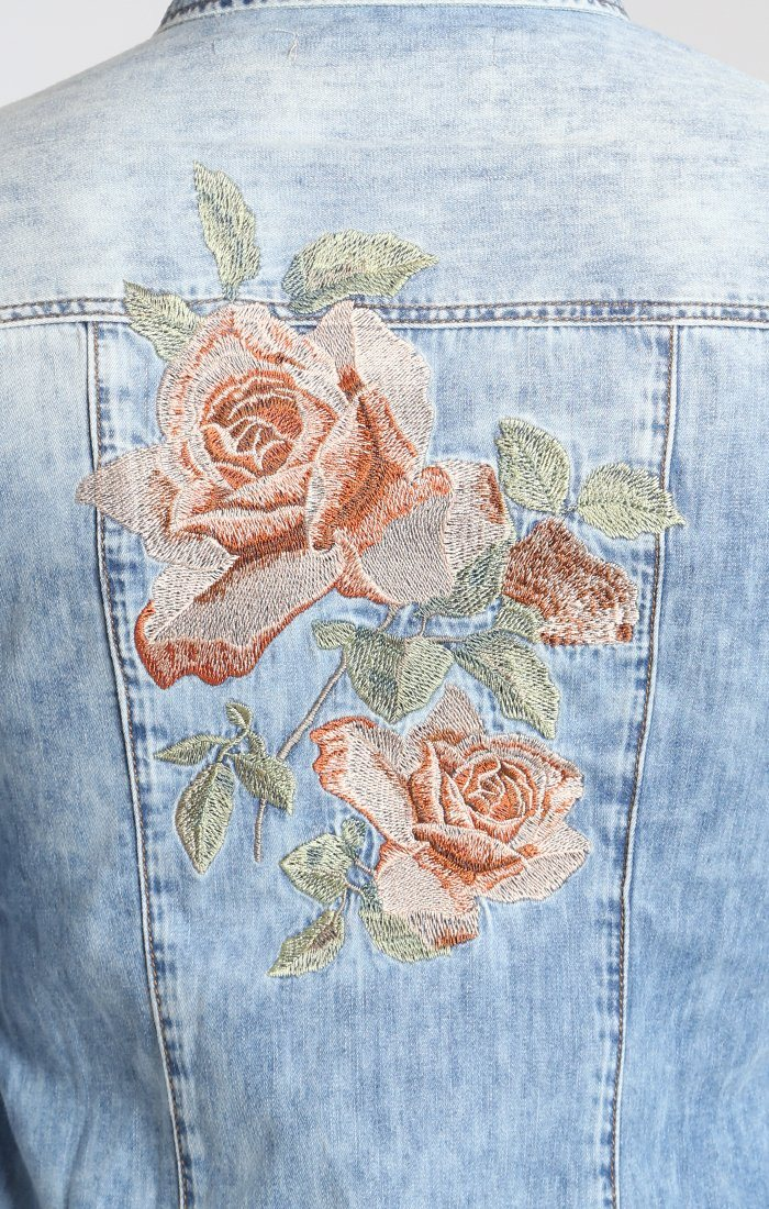 ISABEL SHIRT IN BROWN ROSE EMBROIDERY
