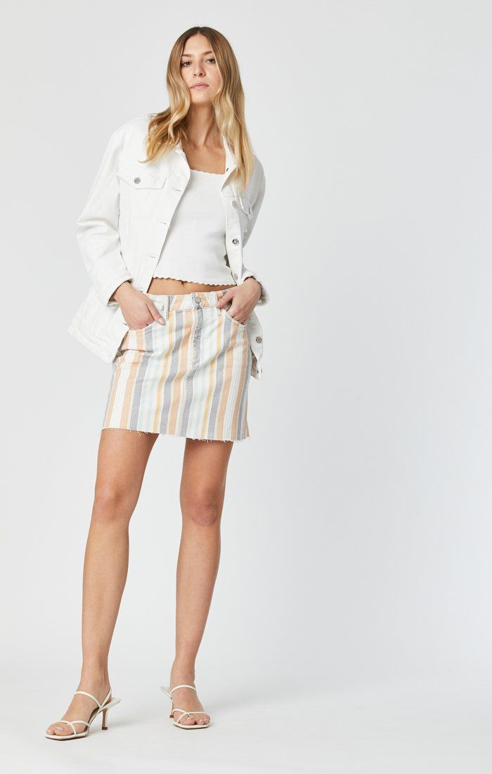 LINDSAY SKIRT IN SPRING STRIPE STRETCH Image 2
