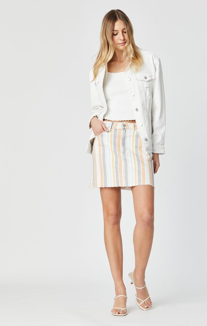LINDSAY SKIRT IN SPRING STRIPE STRETCH Image 4
