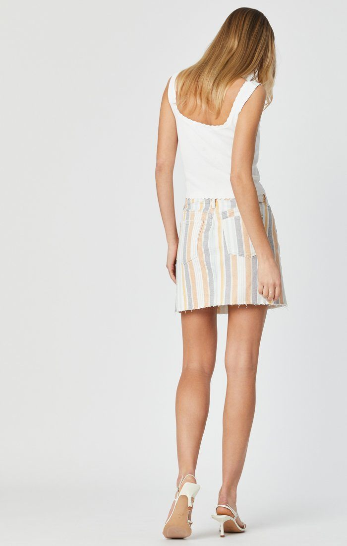LINDSAY SKIRT IN SPRING STRIPE STRETCH Image 3
