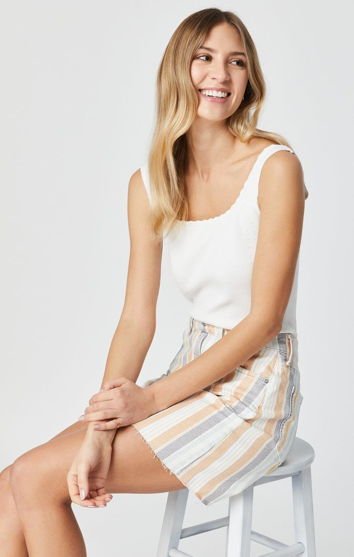 LINDSAY SKIRT IN SPRING STRIPE STRETCH Image 9