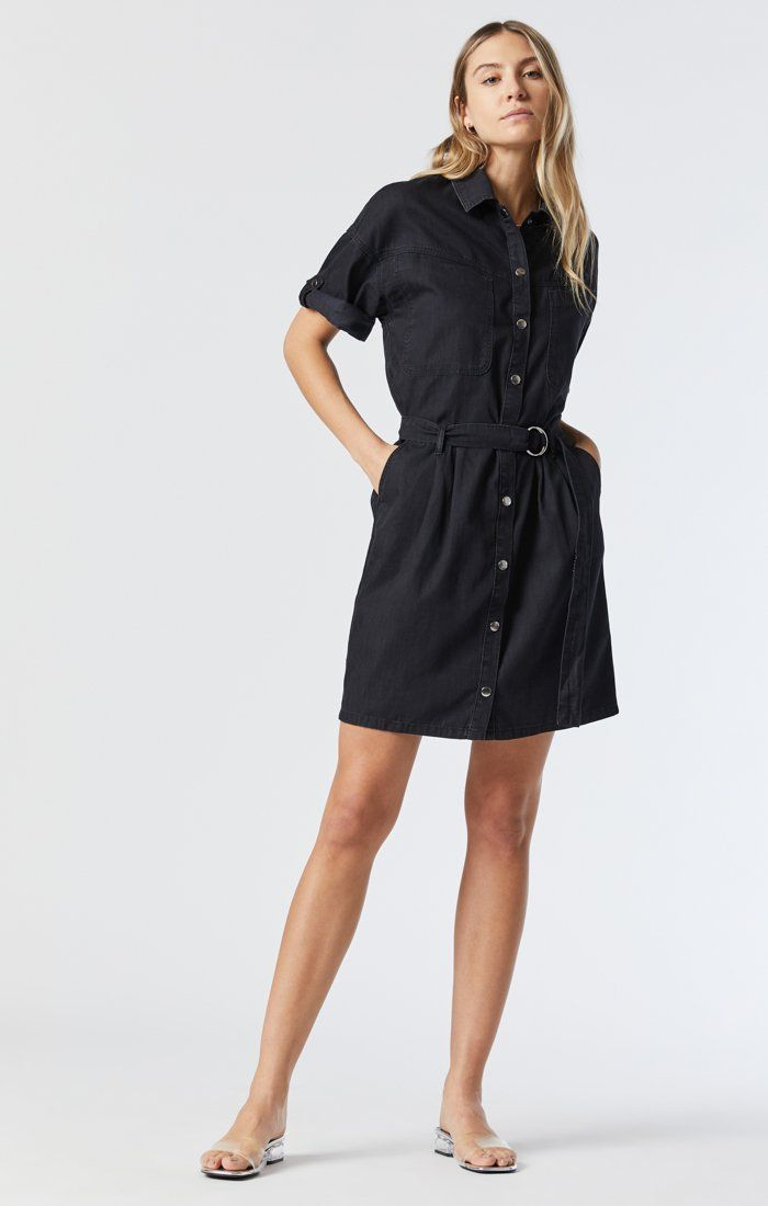 AVERY DENIM SHIRT DRESS IN SMOKED USED GOLD ICON Image 3