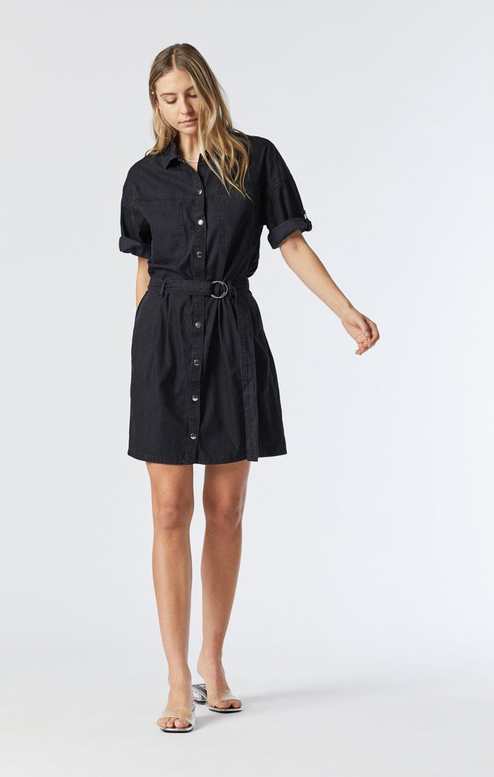 AVERY DENIM SHIRT DRESS IN SMOKED USED GOLD ICON Image 2