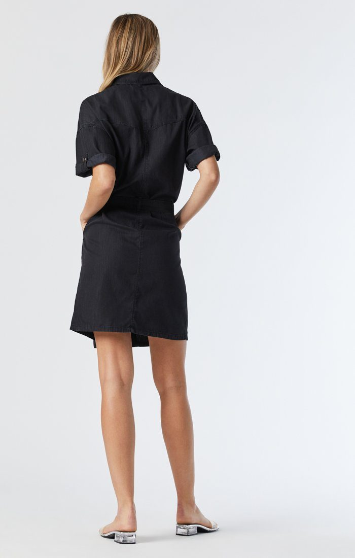 AVERY DENIM SHIRT DRESS IN SMOKED USED GOLD ICON Image 6