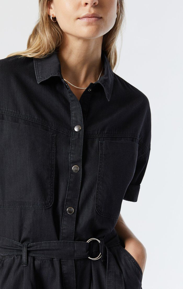 AVERY DENIM SHIRT DRESS IN SMOKED USED GOLD ICON Image 8