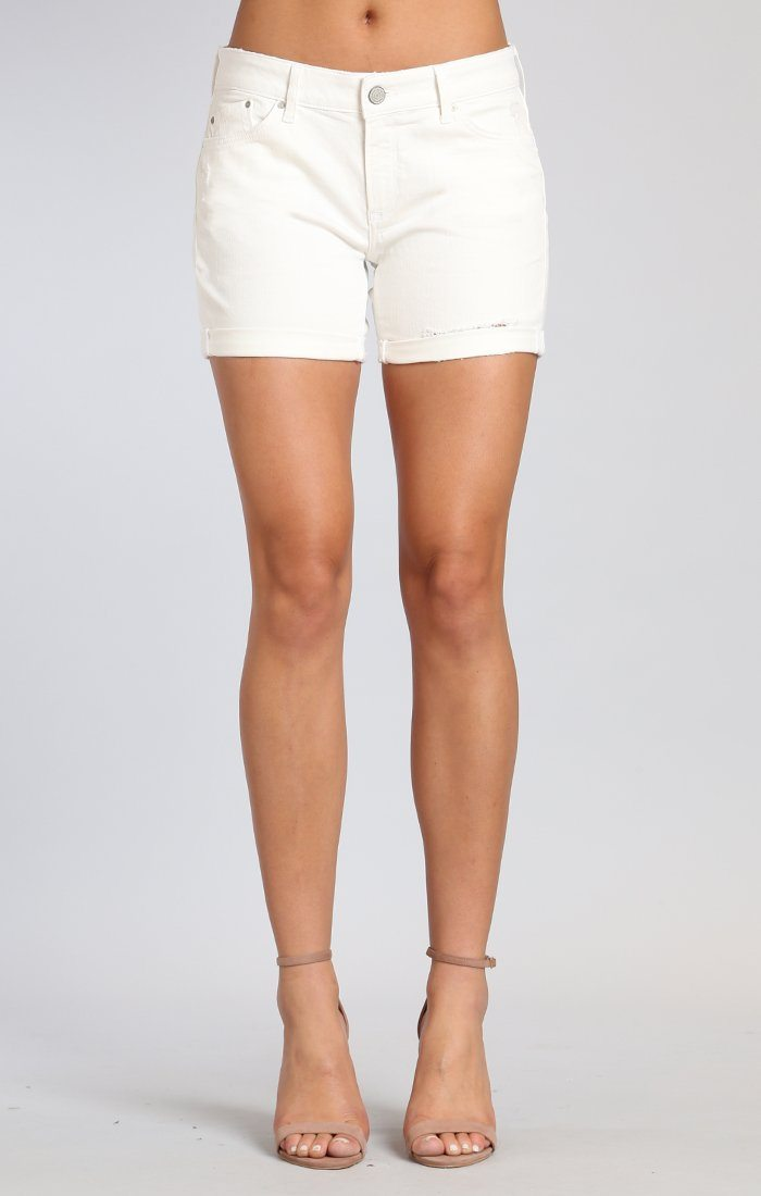 PIXIE SHORTS IN WHITE RIPPED NOLITA