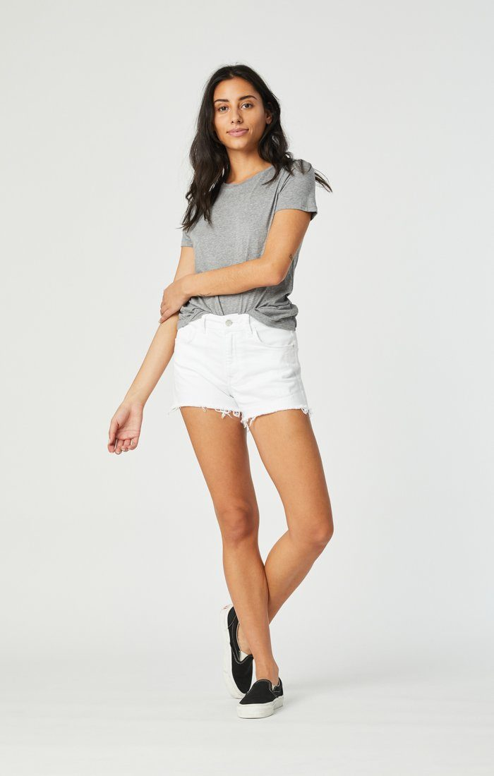 ROSIE BOYFRIEND SHORT IN WHITE RIPPED STRETCH Image 4