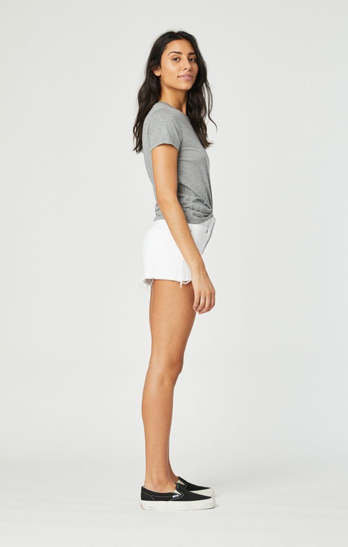 ROSIE BOYFRIEND SHORT IN WHITE RIPPED STRETCH Image 5