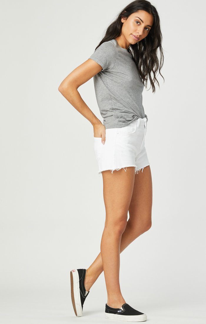 ROSIE BOYFRIEND SHORT IN WHITE RIPPED STRETCH Image 3