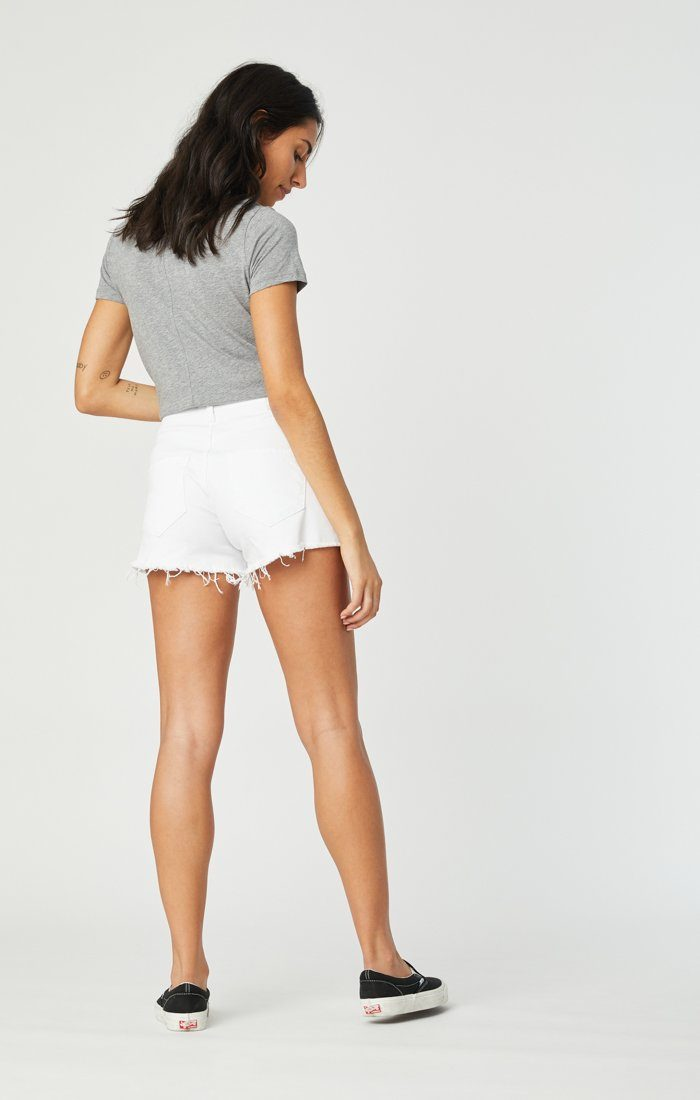 ROSIE BOYFRIEND SHORT IN WHITE RIPPED STRETCH Image 8