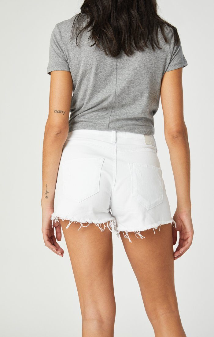ROSIE BOYFRIEND SHORT IN WHITE RIPPED STRETCH Image 2