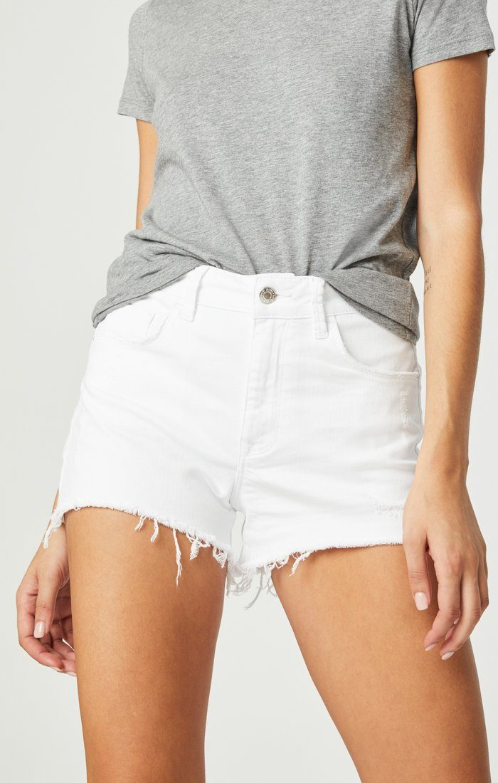 ROSIE BOYFRIEND SHORT IN WHITE RIPPED STRETCH Image 1
