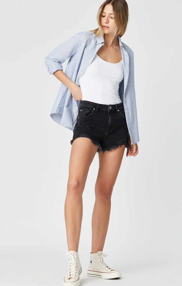 ROSIE BOYFRIEND SHORT IN SMOKE RIPPED 90'S - Mavi Jeans