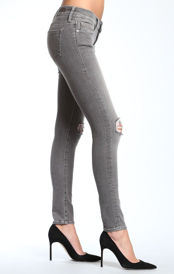SERENA PETITE SUPER SKINNY IN GREY RIPPED - Mavi Jeans