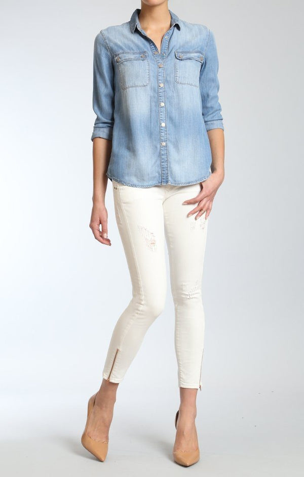 SERENITY ZIP  SKINNY  IN WHITE DESTRUCTED - Mavi Jeans