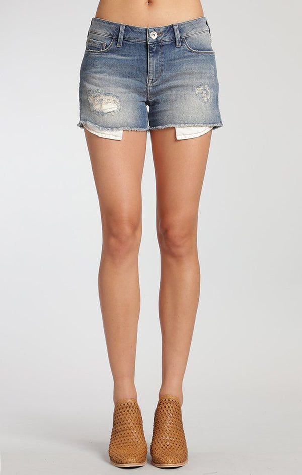 EMILY SHORTS IN USED RIPPED VINTAGE - Mavi Jeans