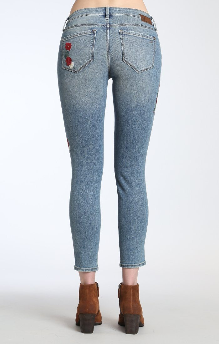 ADRIANA ANKLE SUPER SKINNY IN MID FLOWER EMBROIDERY - Mavi Jeans
