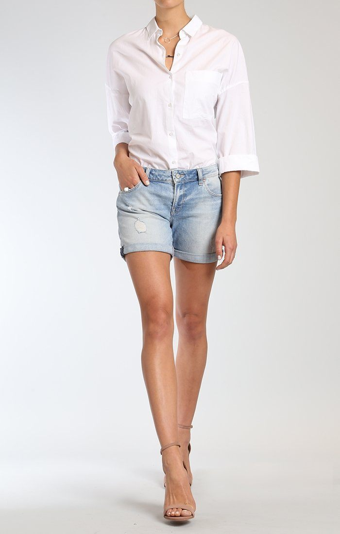 PIXIE SHORTS IN LT RIPPED & CRASHED VINTAGE - Mavi Jeans