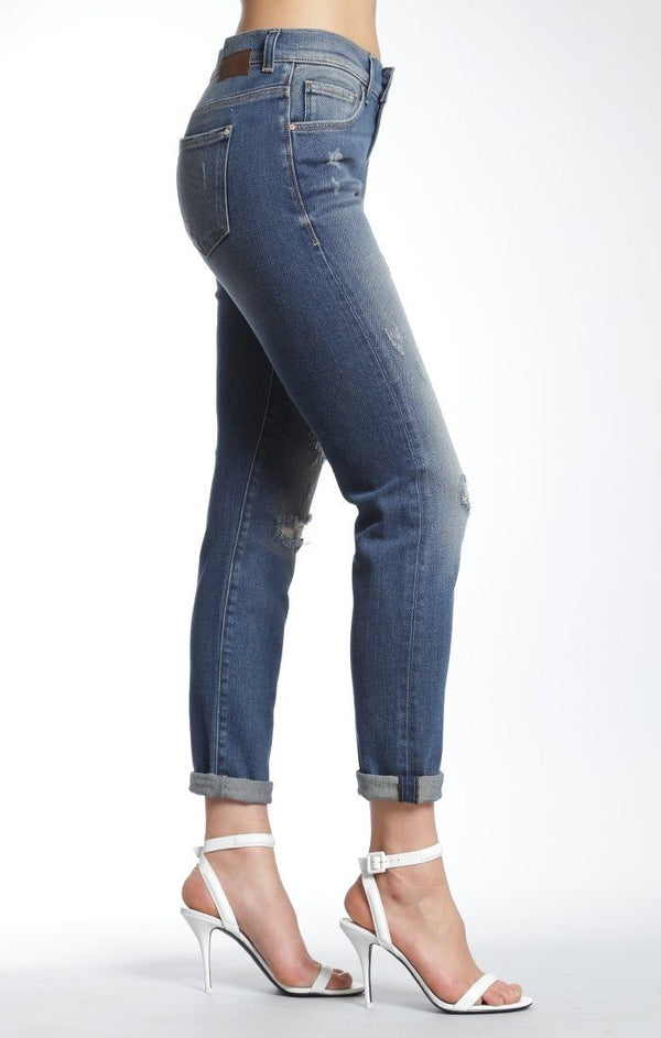 BRENDA AUTHENTIC BOYFRIEND IN MID BLUE RIPPED 90'S - Mavi Jeans