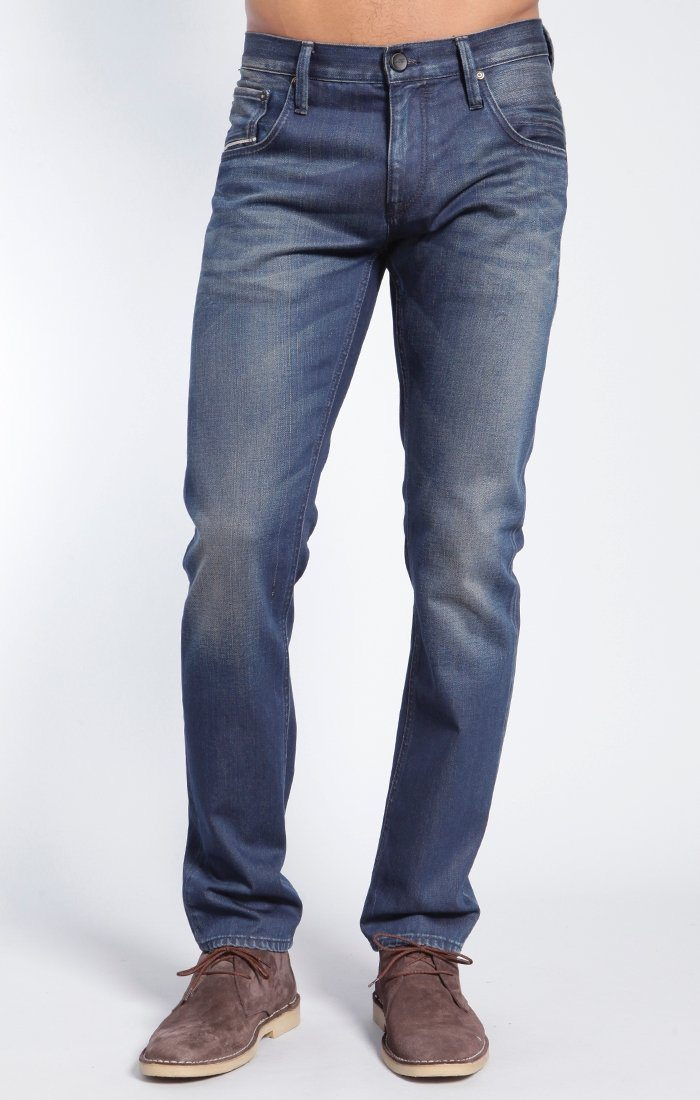 JAKE SLIM LEG IN DARK WHITE EDGE - Mavi Jeans