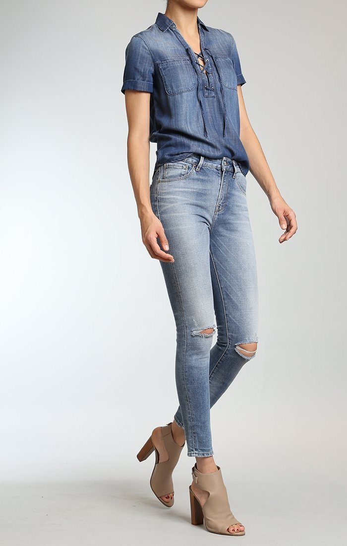 LUCY SUPER SKINNY IN FOGGY RIPPED VINTAGE - Mavi Jeans